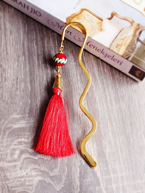 Gold Plated Metal Bookmark Christmas Gift by GlassHouseLampwork