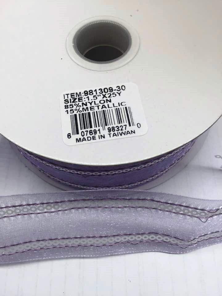 """Sheer Organza Ribbon With Circle Sequins 1.5"""" 25 Yards Lav/White  30"""