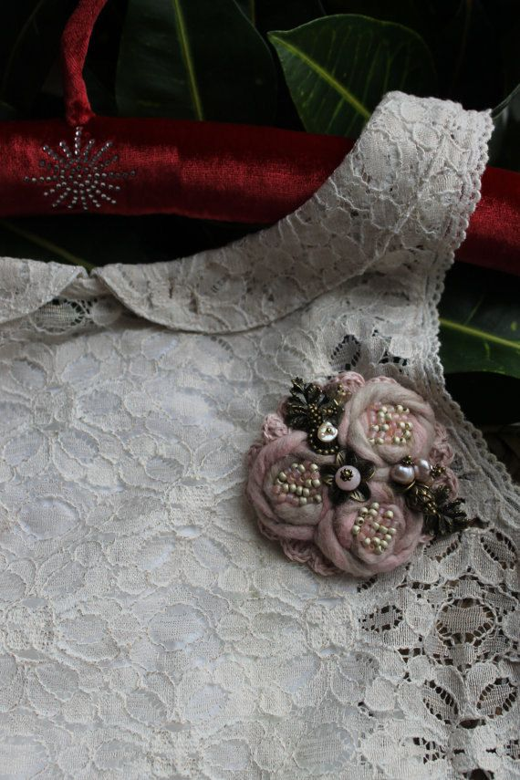 Hand crafted brooch  linen  textiles by MonikaVintagefabric
