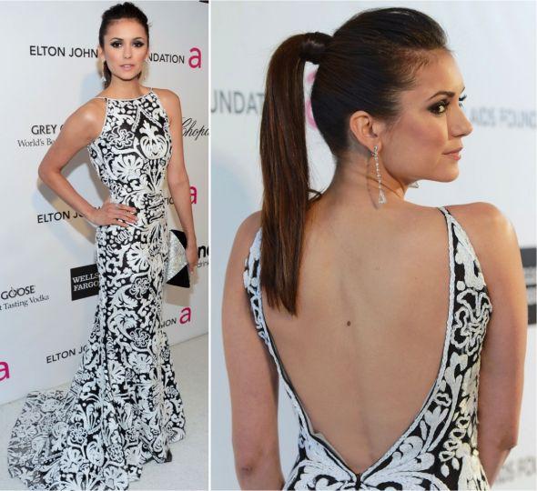 Vestido preto e branco com decote nas costas sexy e elegante! Dress