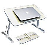#10: Avantree Quality Adjustable Laptop Table, Portable Standing Bed Desk, Foldable Sofa Breakfast Tray, Notebook Stand Reading Holder for Couch Floor - Minitable Beige