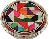 Mother of Pearl Makeup Mirror qult Design Cosmetic mirror Handbag Purse handheld Compact hand pocket Mirror