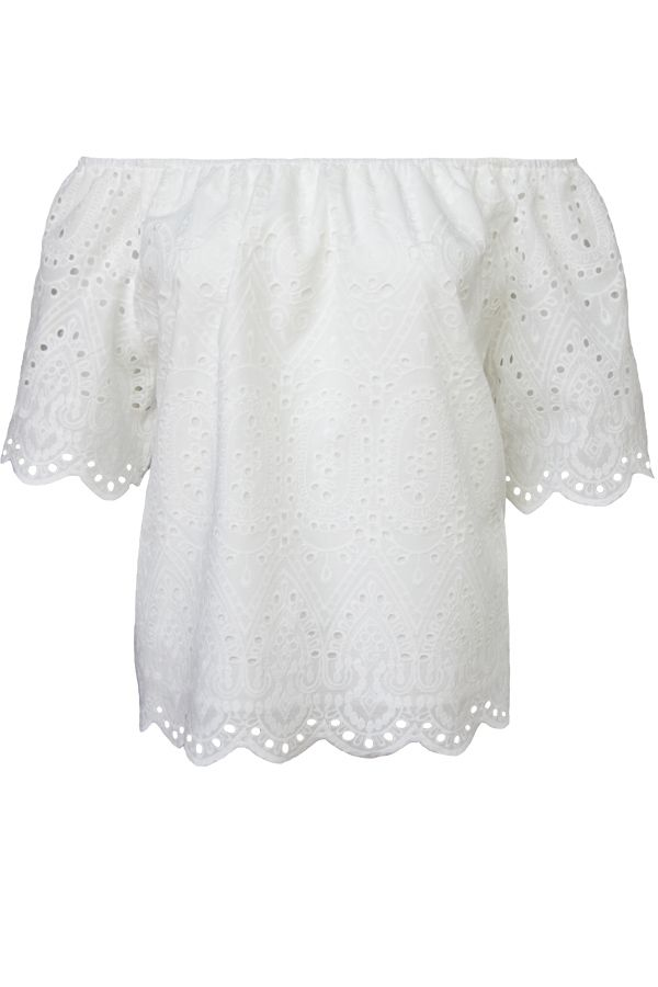 White Off The Shoulder Anglaise Front Top