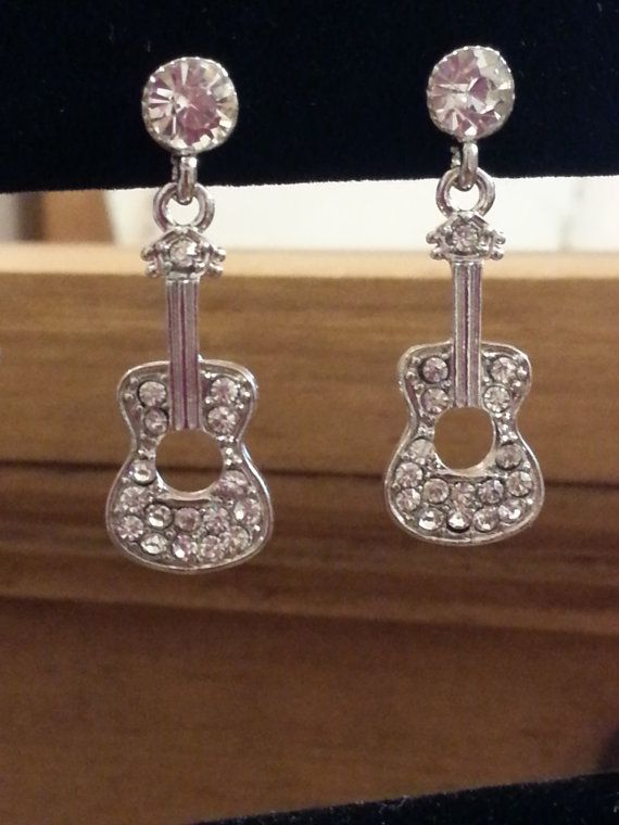 Rustic Style Guitar Earrings with Rhinestones by RusticBaubles, $6.50