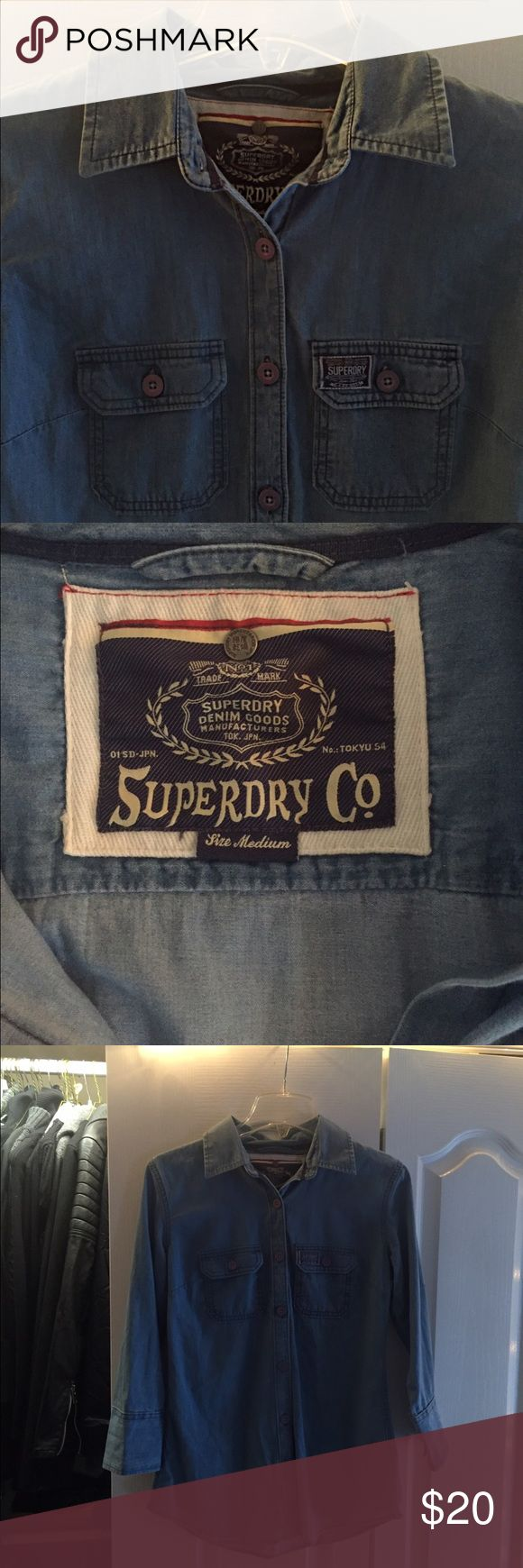 Superdry Oversized Denim Shirt Sky Slub Blue, Great Condition, Superdry United Kingdom, Button Down middle and sleeves Superdry Tops Button Down Shirts