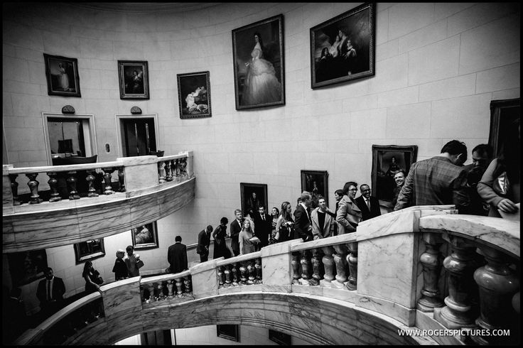 Wedding guests arriving at One Whitehall Place. That's the largest freestanding marble staircase! More here -