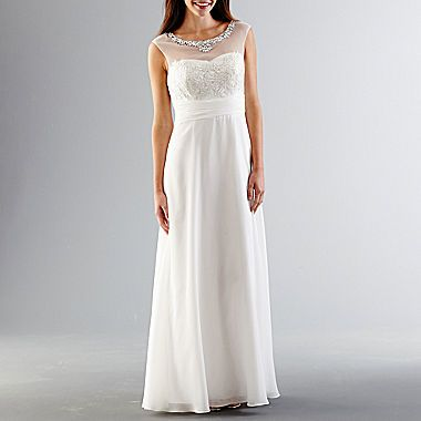 jcp | One by Eight Sleeveless Illusion Beaded Neck Wedding Gown