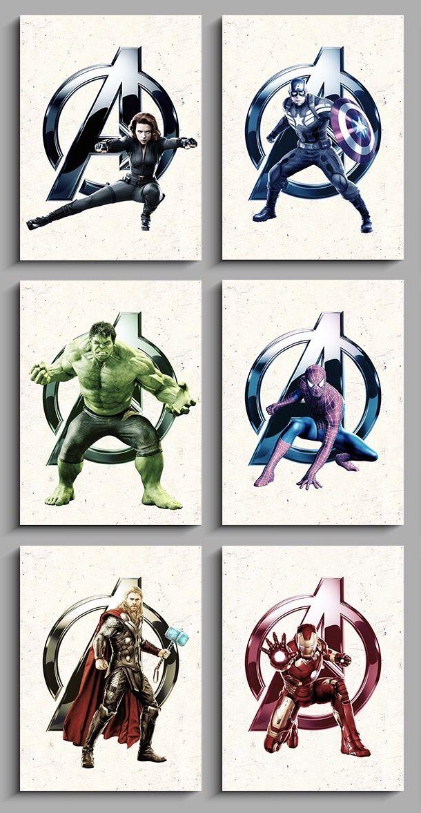 avengers wall art superhero nursery print set boys bedroom decor rh pinterest com