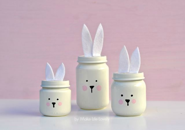 Painted Easter Bunny Jars Used dual paint/primer in white gloss