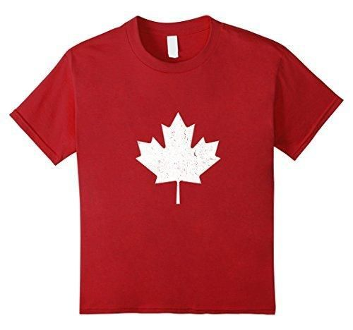 Kids Canada Maple Leaf Vintage T-Shirt Canada Day T-Shirt 4 Cranberry