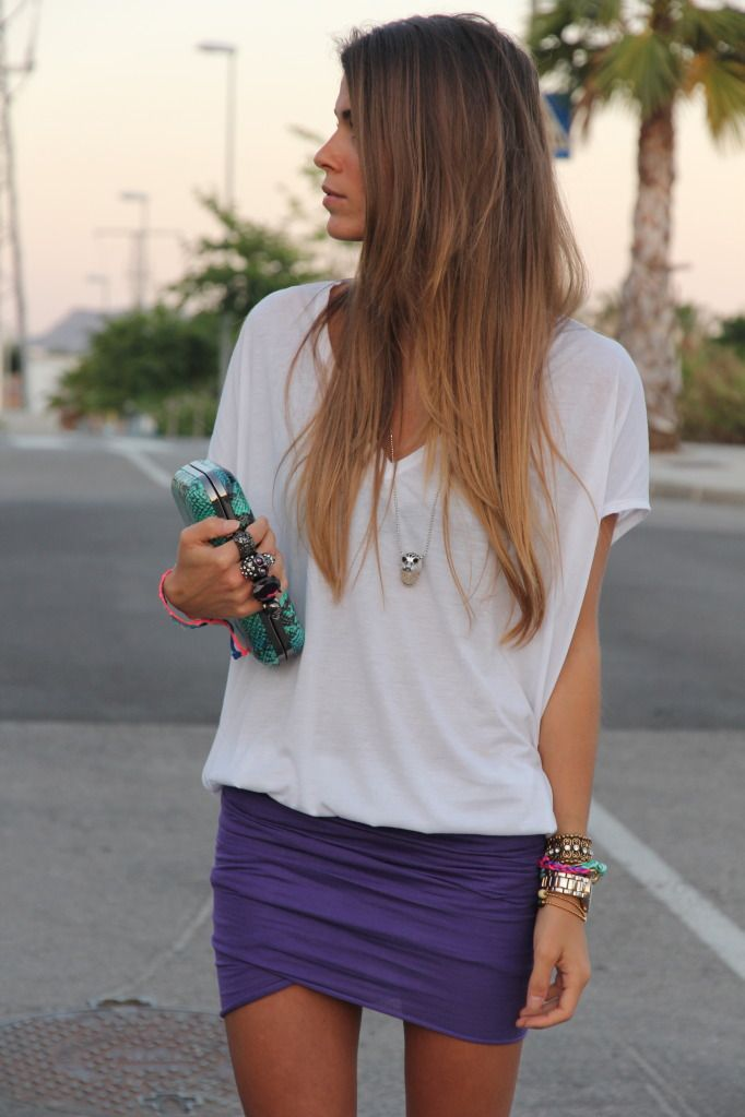 Love the skirt: Summer Styles, Minis Skirts, Purple Skirts, Summer Outfit, Cobalt Blue, White Shirts, Wraps Skirts, Tights Skirts, Summer Night