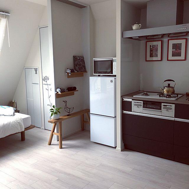 電子レンジ 冷蔵庫 掃除 壁に付けられる家具 一人暮らし などのインテリア実例 2019 04 27 23 45 22 Roomclip ルームクリップ インテリア インテリア 家具 1k レイアウト 6 畳