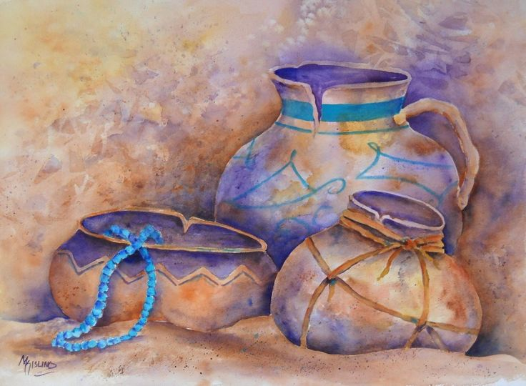 Watercolor of Southwest Pots in Sand With by MarthaKislingArt