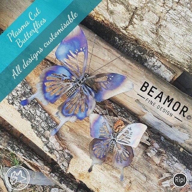 Plasma cut butterflies. Any designs customisable. #metalart #handcrafted #butterflies #customdesigns #etsystore #beamorfinedesign #findamaker #gardenart via @RiplApp