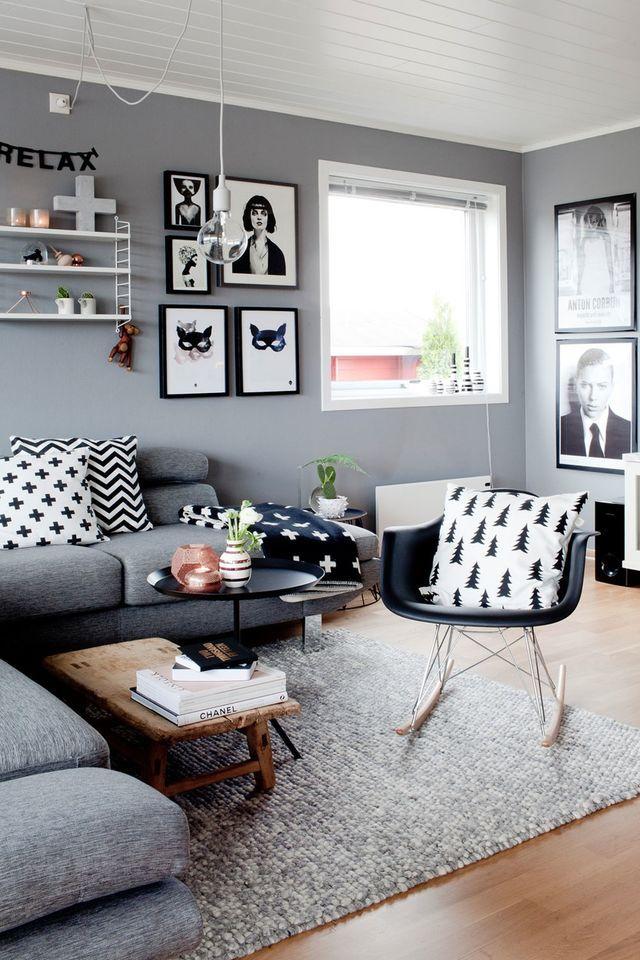 17 mejores ideas sobre sof s grises en pinterest - Decoracion salon blanco y negro ...