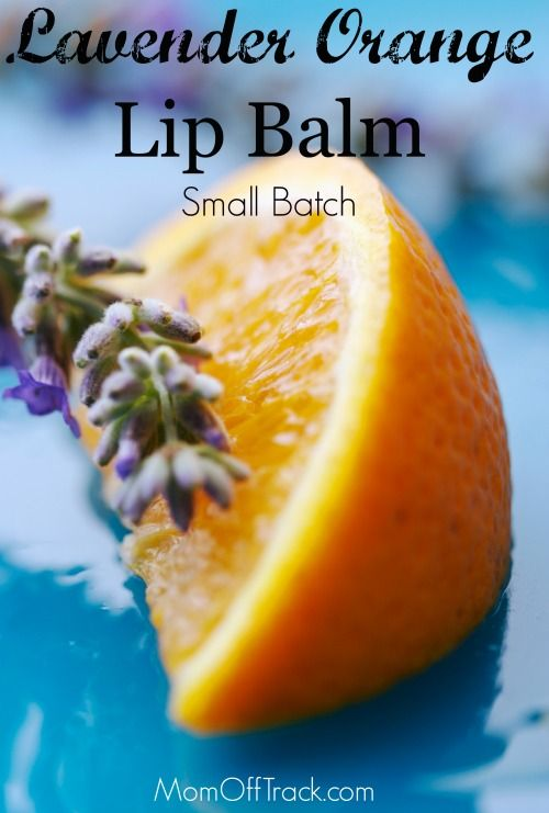 This Lavender Orange Lip Balm recipe makes a small batch of 12 tubes and uses essential oils. Perfect, easy DIY project for gifts.