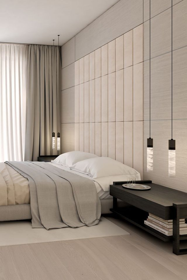Modern bedroom. Suspended lighting