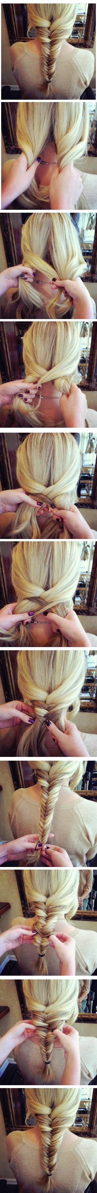 The lengthy hair is styled into a causal and lovely loose fishtail braid. Some side-parted layers are left out in front and most of the hair is combed back and then separated into three parts to gain the fun loose braid. Just a few simple steps can help gain the cool and romantic hairstyle. Smooth[Read the Rest]