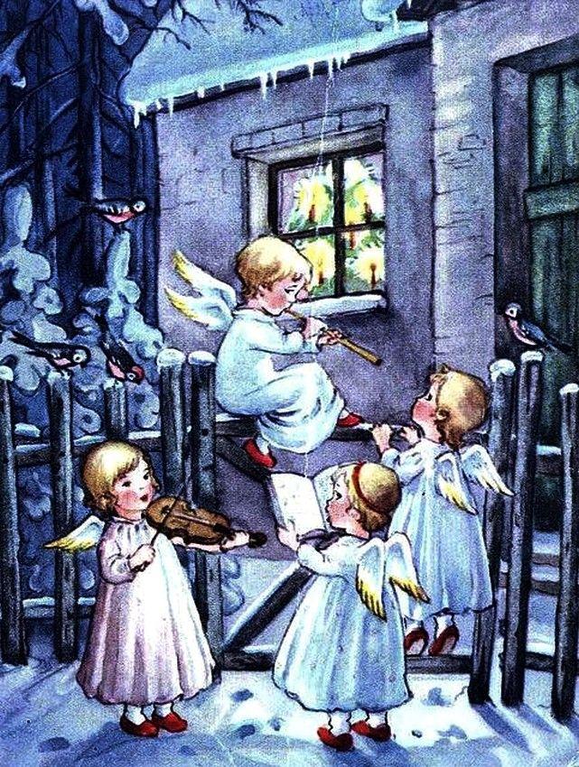 Old Christmas Post Сards —   Angel's Carol (641x850):