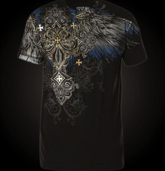 Xtreme Couture Affliction Hombre Camiseta alférez Cruz Tatuaje Biker Gimnasio Mma Ufc $40