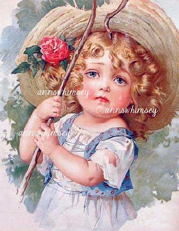 Little Bo Peep Restored Antique Art Baby's Room Art  #612