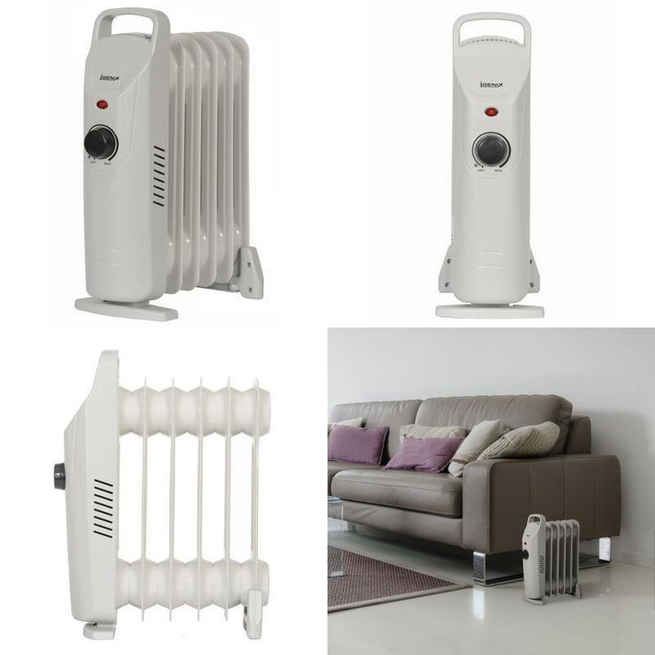 Heater Electric Oil Free Column Radiator Portable Settings 0.5 kW Grey Home