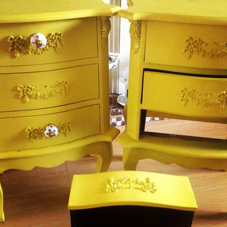Two bedside lockers being transformed today using AUTENTICO Yellow Tan chalk paint!!