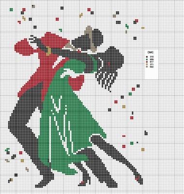 Dancing Couple Free Cross Stitch Pattern Chart