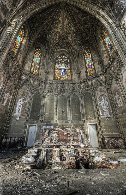 Abandoned cathedral;  stained glass