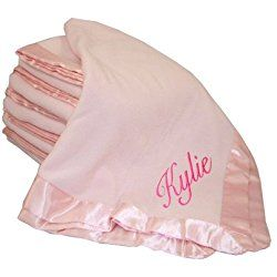 Custom Embroidered Monogrammed Name Pink Fleece Personalized Baby Blanket Light Pink Thread