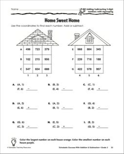Home Sweet Home: Adding and Subtracting with 3-digit Numbers, With Regrouping