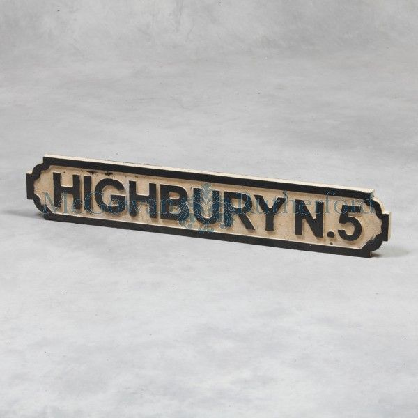 "Antiqued Wooden ""Highbury N5"" London Road Sign. www.burysandgrey.co.uk"