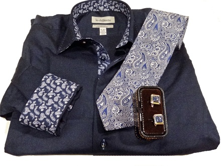 Le Chateau - Navy Dress Shirt , Paisley Tie and Cufflinks