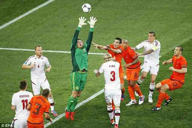 Denmark 1 Holland 0 in 2012 in Kharkiv. Stephan Andersen catches this Dutch corner ball in Group B at Euro 2012.