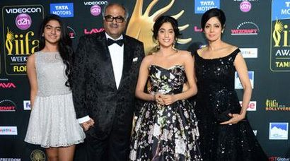 Sridevi, daughter Jhanvi style up #IIFA 2014 greencarpet