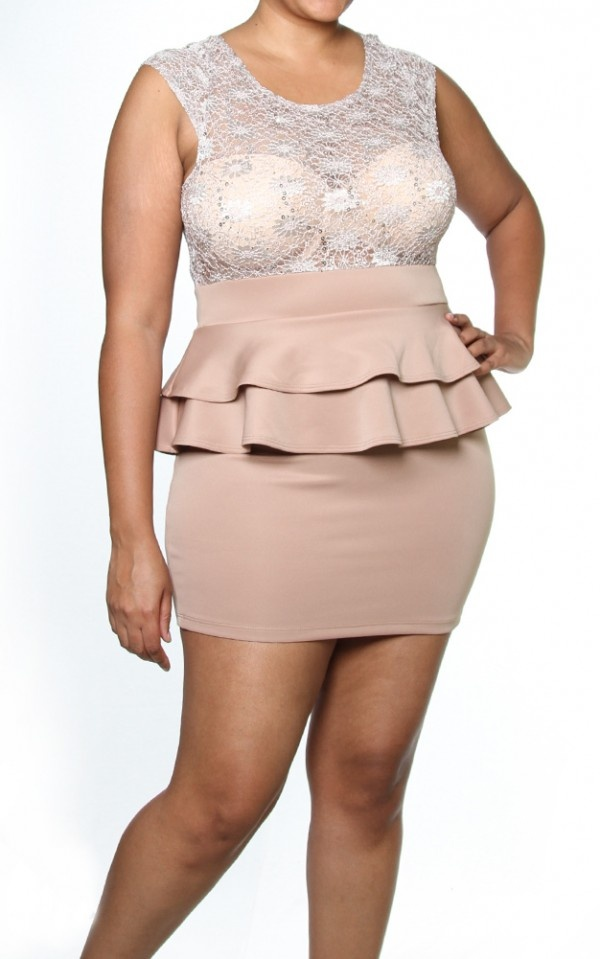 Taupe Scoop Neck Sequin Lace Double Sexy Peplum Plus Size Mini Dress $29.95
