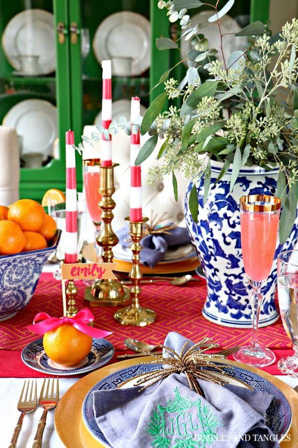 Hot Pink Orange Blue And White Thanksgiving Table 2017 Pink Thanksgiving Blue Thanksgiving Pink Tablescape