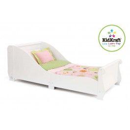 Het Kidkraft kleuter-sleebed zorgt voor een vlotte overgang van een ledikant naar een echt bed. Het bed is laag genoeg zodat kinderen er makkelijk in en uit kunnen stappen. Het bed wordt geleverd exclusief kussens, lakens en matras.