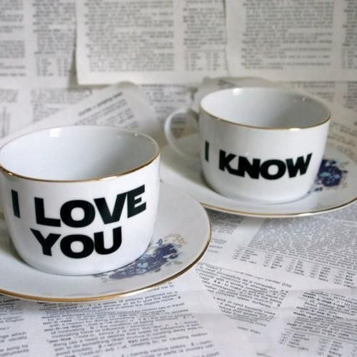 I LOVE YOU | I KNOW coffee mugs (maker unknown)