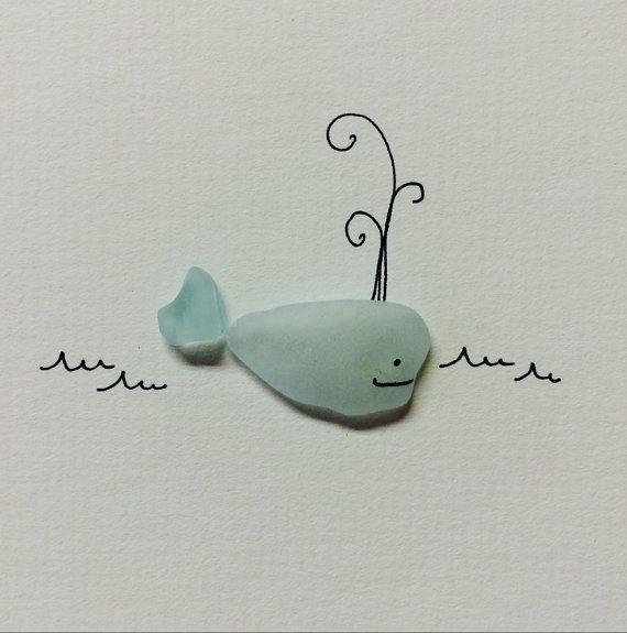 Little sea glass whale original art by sharon nowlan by PebbleArt