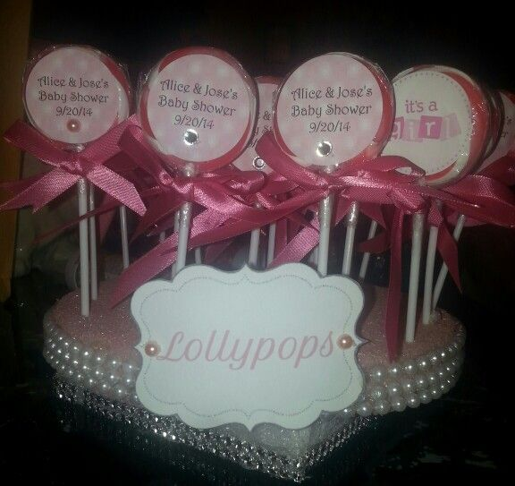 Great Lollypop Stand For Candy Table. #babyshower #lollipop #lollypop #diamonds # Pearls