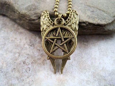 Handmade Antique Bronze Supernatural Wings Necklace