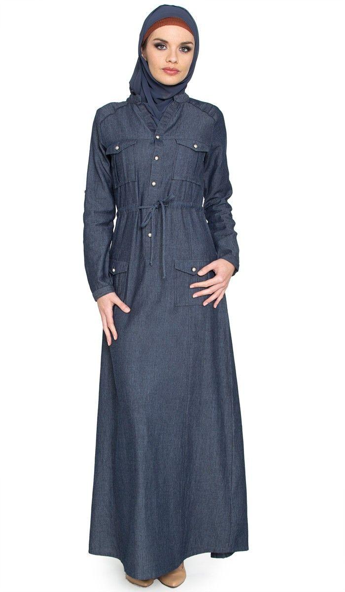 Womens Denim Islamic Maxi Dress with Free Hijab   abayas, kaftans, maxi dresses and long sleeve dresses for women   Islamic Dresses at Artizara.com