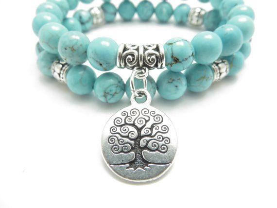 Tree of Life jewelry Yoga Mala Bracelet Turquoise Healing por HVart