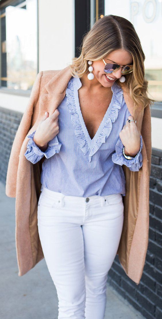 #spring #outfits /  Camel Coat / Blue V-neck Blouse / White Skinny Jeans