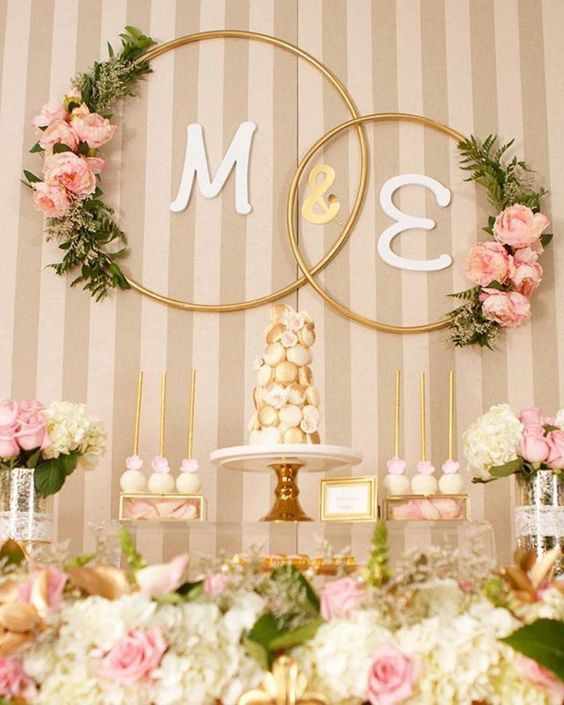 hula hoop deco wedding engagement floral wreaths gold #decoration