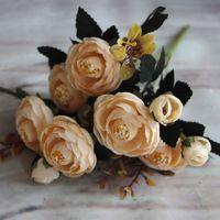 1 шт. Декора Цветы Vivid 6 Филиалов Осень Искусственный Поддельный Чай Розы Букет Главная Свадебный Свадьба Декор