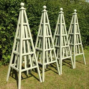 Set of 4 wooden garden obelisks, sweet pea design, painted Lichen by Farrow and Ball