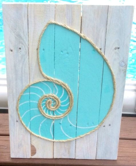 Rope Wall Art: http://www.completely-coastal.com/2015/04/diy-rope-art-wall.html Shell outlined with rope on wood, and many other ocean inspired creations.