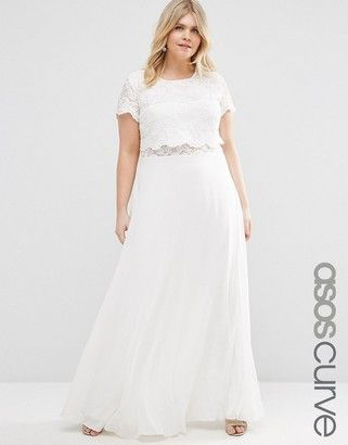 ASOS Curve ASOS CURVE Maxi Dress with Lace Crop Top - Shop for women's Dress - Ivory
